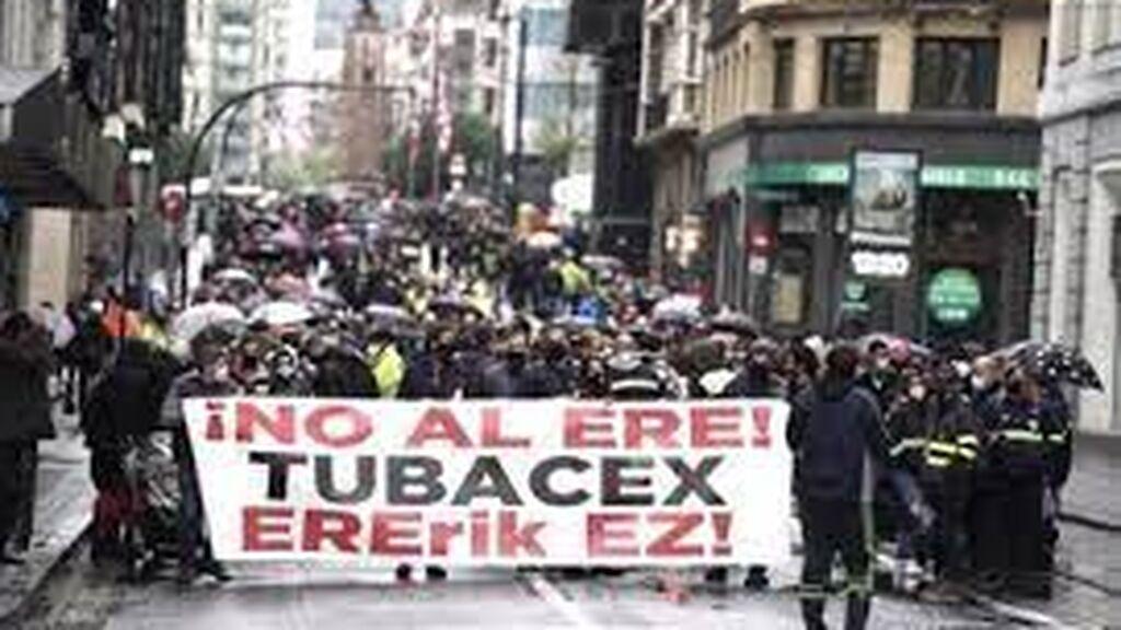 Los trabajadores de Tubacex en una de las manifestaciones durante la huelga