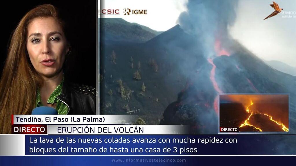 Las nuevas coladas del volcán de La Palma avanzan con rapidez