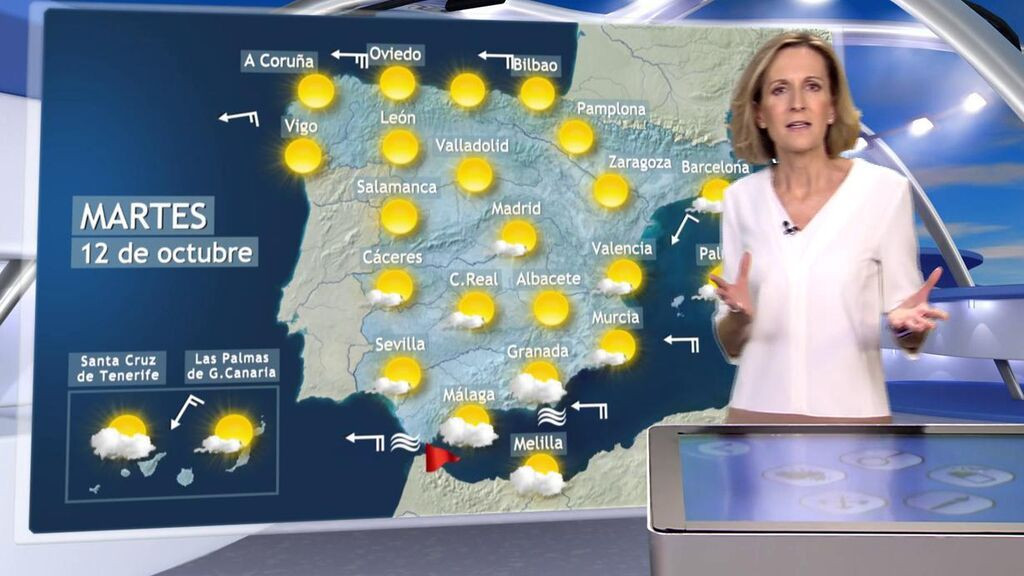 Sol y temperaturas agradables por el día del Pilar: el tiempo para el martes, 12 de octubre