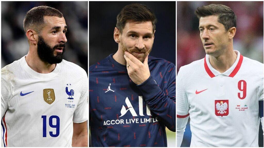 Benzema, Messi y Lewandowski, los tres grandes favoritos al Balón de Oro.