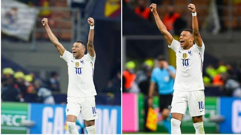El PSG se 'deshace' de una bandera del Real Madrid para felicitar a Mbappé: recorte para evitar mostrarla