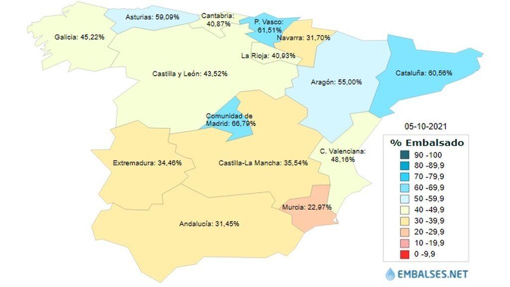mapa embalses
