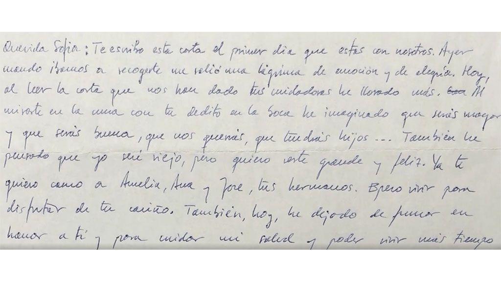 Carta de José Bono a su hija Sofía tras adoptarla