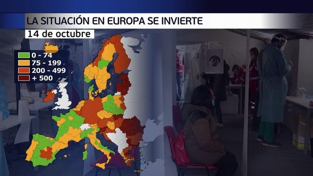 Mapa covid en Europa: España pasa del rojo al verde en tan solo dos meses