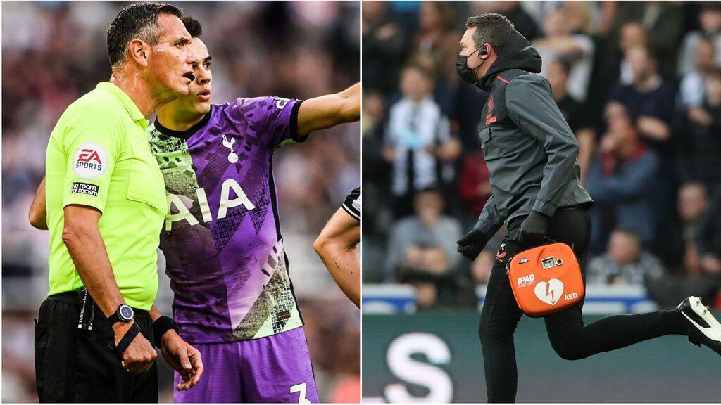 Sergio Reguilón avisó al árbitro de que algo sucedía en la grada mientras se disputaba el Newcastle-Tottenham