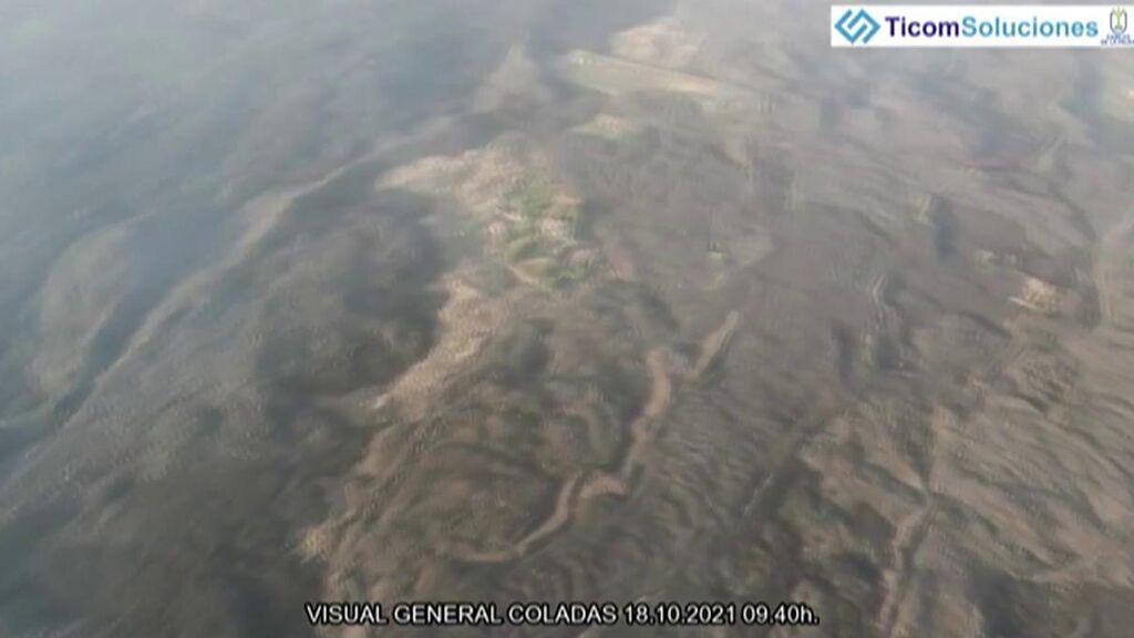 Vista de la colada de lava desde el aire