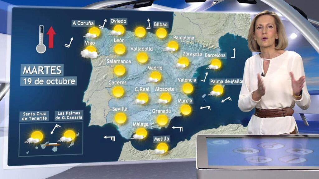 Las temperaturas subirán un día más en España: el tiempo que hará el martes