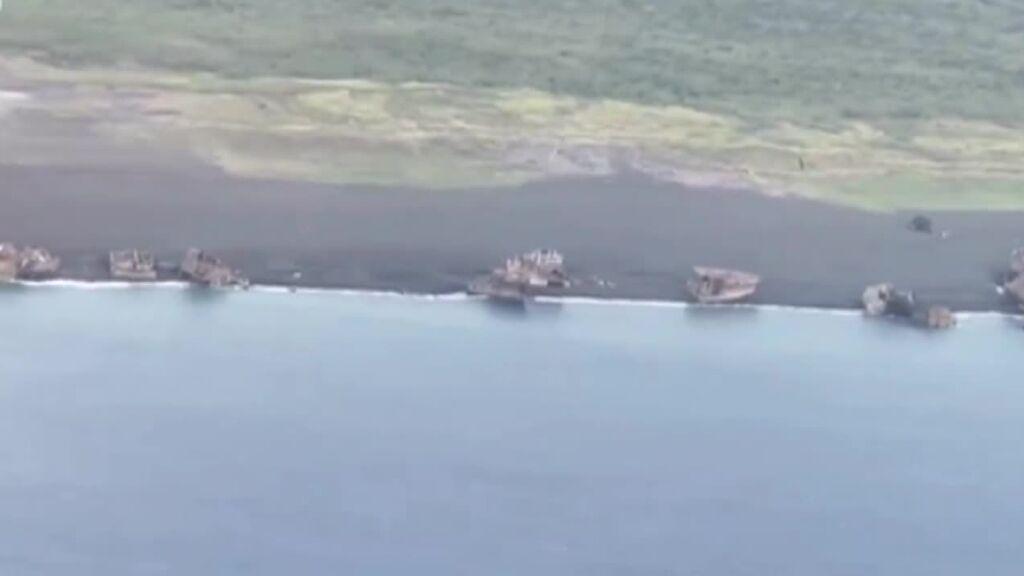 Un terremoto deja a la vista unos barcos hundidos durante la II Guerra Mundial en Japón