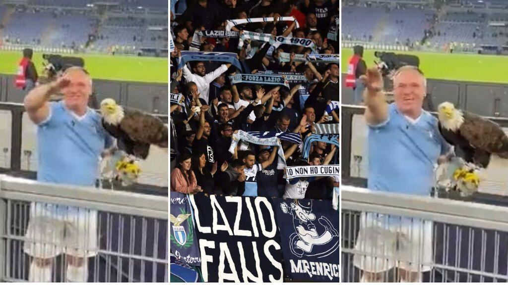El adiestrador español del águila de la Lazio, pillado haciendo saludos fascistas con sus aficionados
