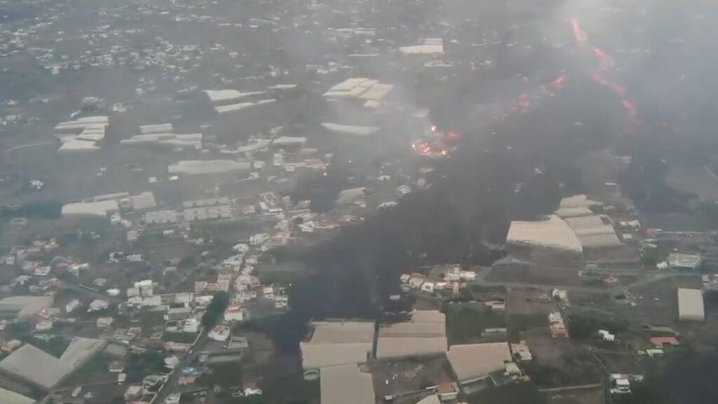 Dos de las coladas del volcán de La Palma