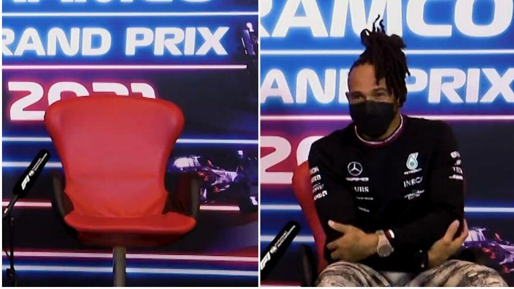 """Hamilton se queda encerrado en su habitación y llega tarde a rueda de prensa: """"Tío, no es un chiste"""""""