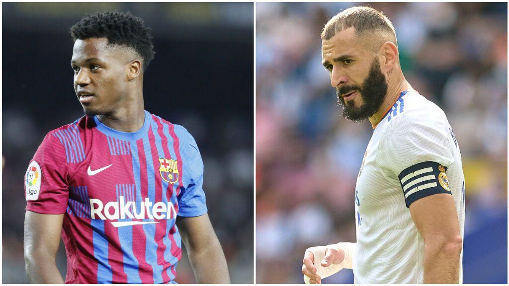 Ansu Fati y Benzema, las estrellas de Barcelona y Real Madrid.