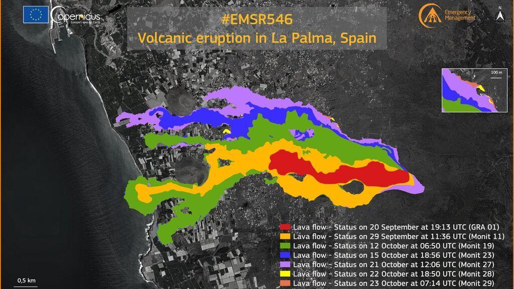 La lava del volcán de La Palma afecta ya a 891,9 hectáreas y 2.270 edificaciones, según Copernicus