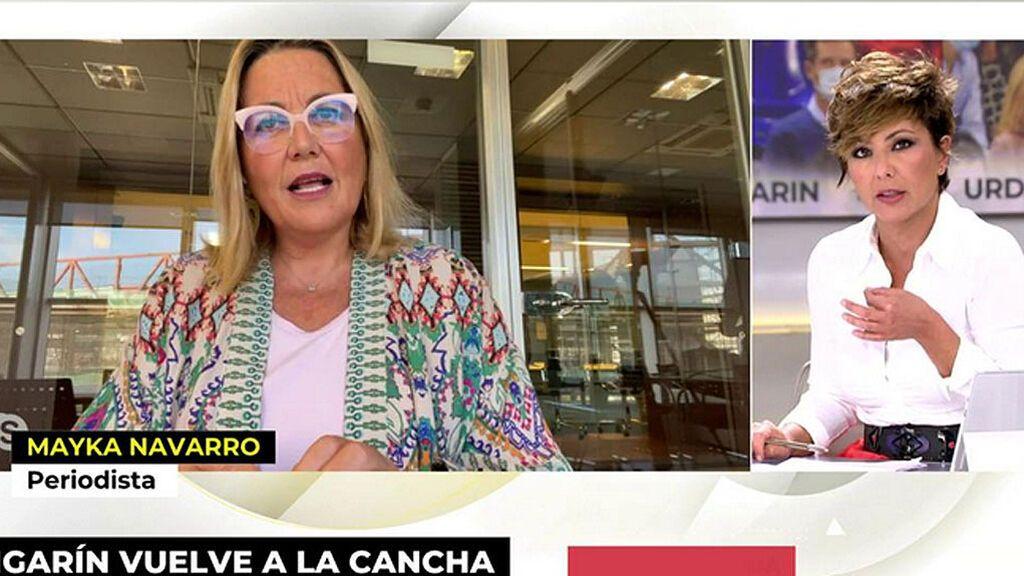 """Mayka Navarro, ante los piropos de Sonsoles Ónega: """"¿Desde 2018 no me veías peinada?"""""""