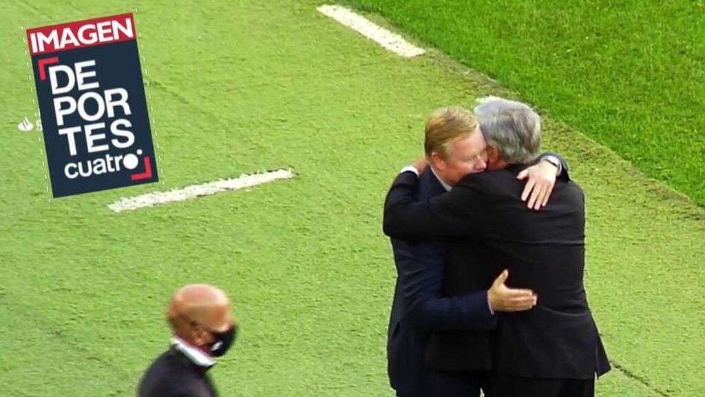 """Ancelotti, a Koeman tras el pitido final: """"Tenemos un trabajo complicado, hay que seguir"""""""