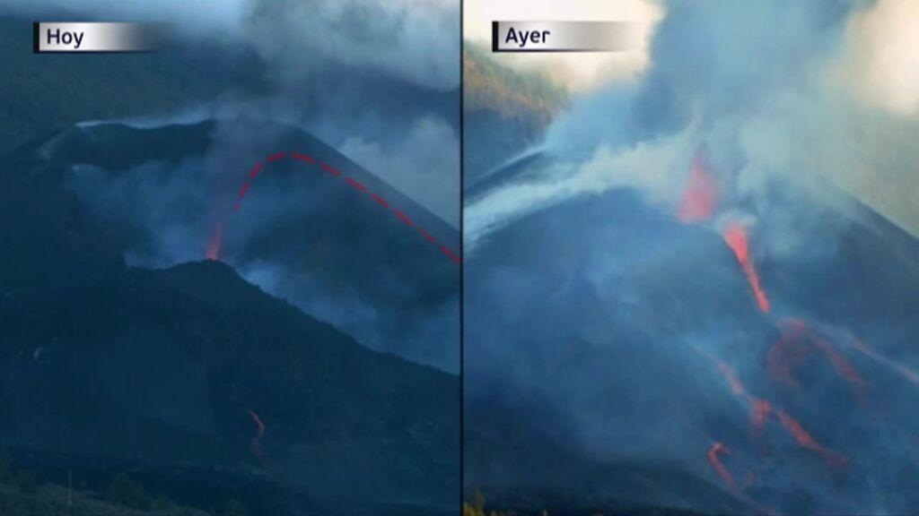 El cono del volcán de La Palma se derrumba dentro de su cráter