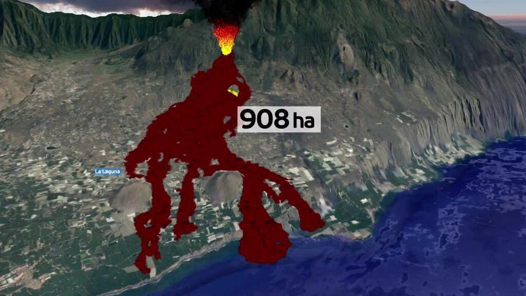 Aumenta en dos hectáreas el terreno afectado por las coladas de lava