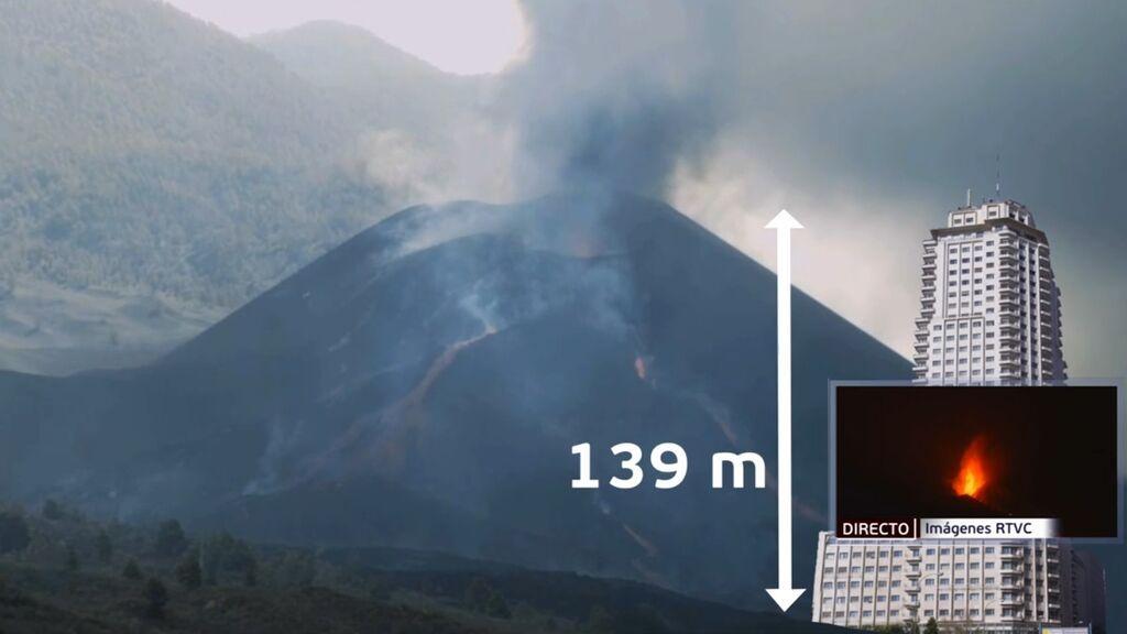 El volcán de La Palma es tan alto como la Torre de Madrid