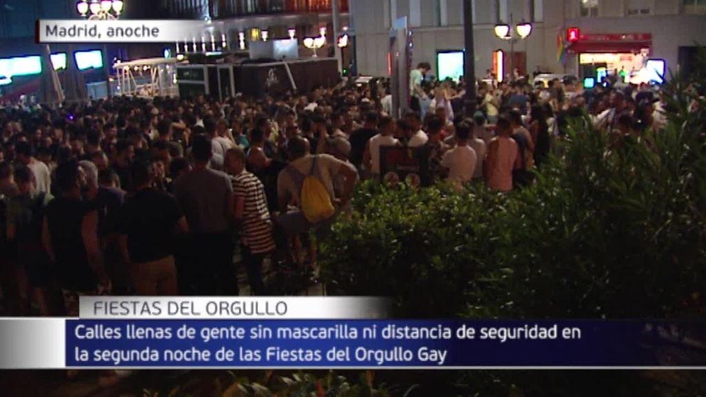 Las fiestas del Orgullo en el barrio de Chueca, en Madrid, sin mascarillas ni distancia de seguridad