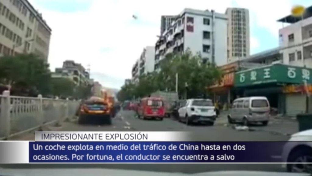 Espectacular explosión de un coche en China