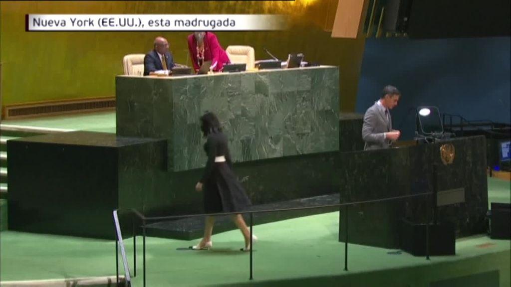 El presidente del Gobierno empieza su intervención en la ONU acordándose de los vecinos de La Palma