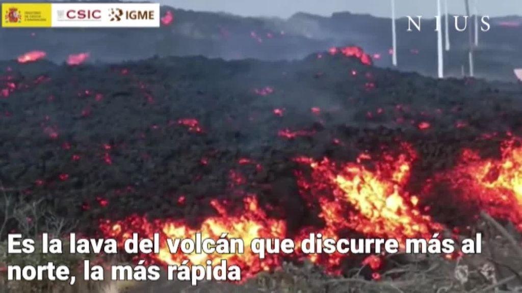 En el frente norte, el más activo del volcán de La Palma
