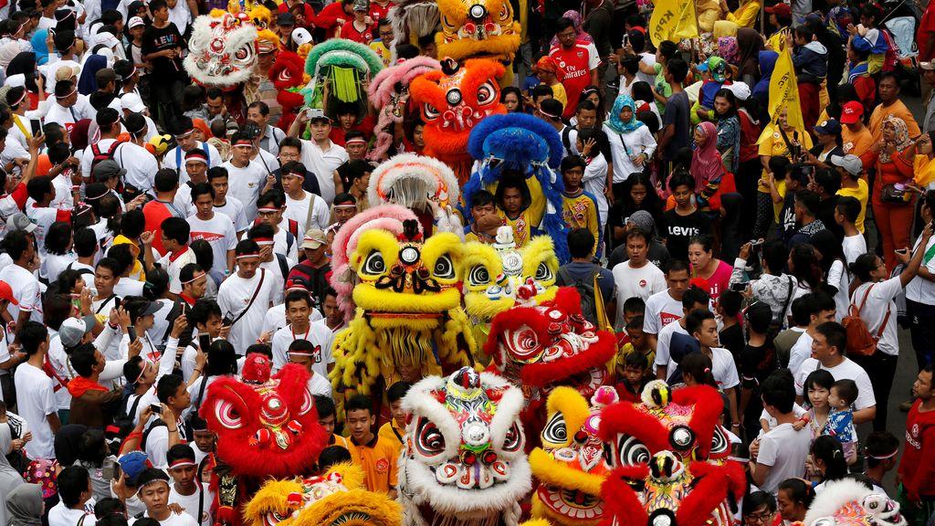 Los leones chinos, en cualquier gran concentración