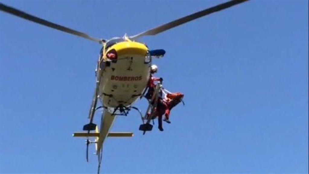 Helicóptero que trasladó al corredor al Hospital de 12 de octubre