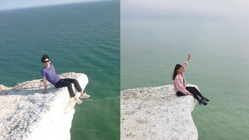 Varios turistas arriesgan sus vidas por un selfi en un temible acantilado
