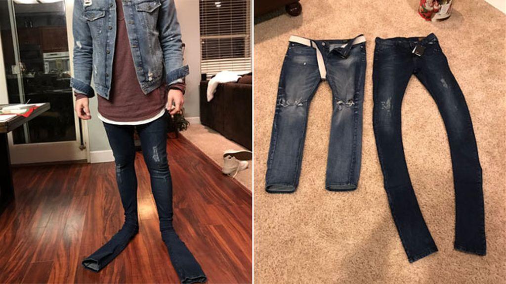 Recibe unos pantalones extra largos y le dicen que es un 'nuevo estilo de ropa masculina'