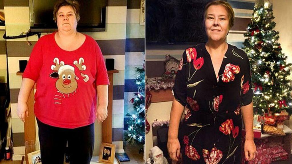 Su conjunto navideño la motivó para adelgazar casi 90 kilos