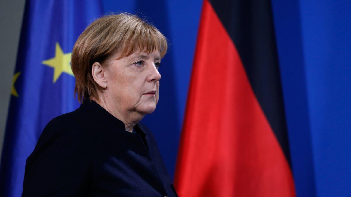 La canciller alemana, Angela Merkel, en rueda de prensa
