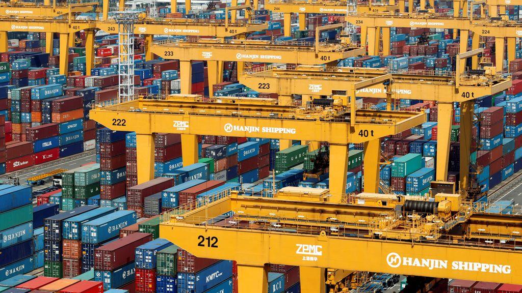 La gran base de contenedores de Hanjin Shipping