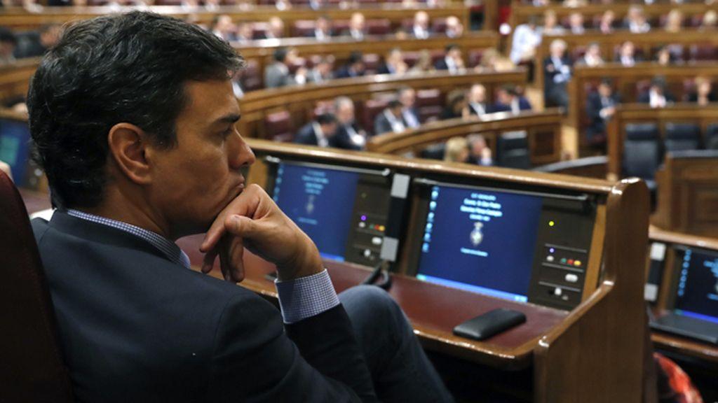 Pedro Sánchez, durante la investidura de Mariano Rajoy