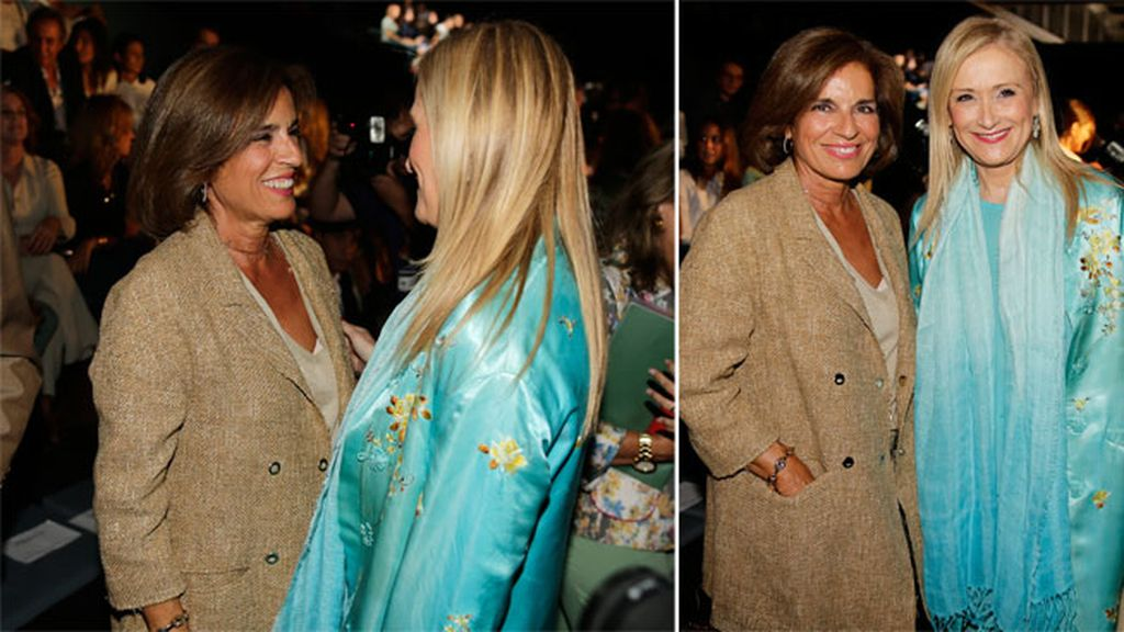 Ana Botella y Cristina Cifuentes en el desfile de Roberto Torretta