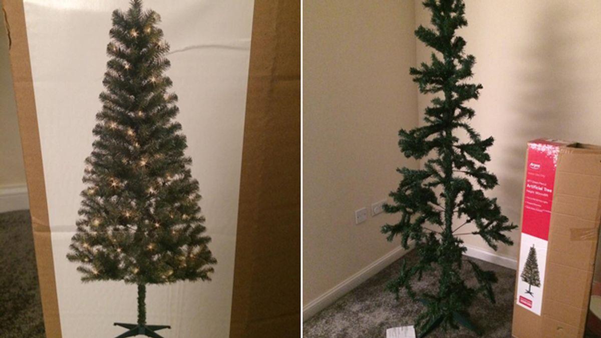 Recibe un decepcionante árbol de Navidad muy diferente al anuncio