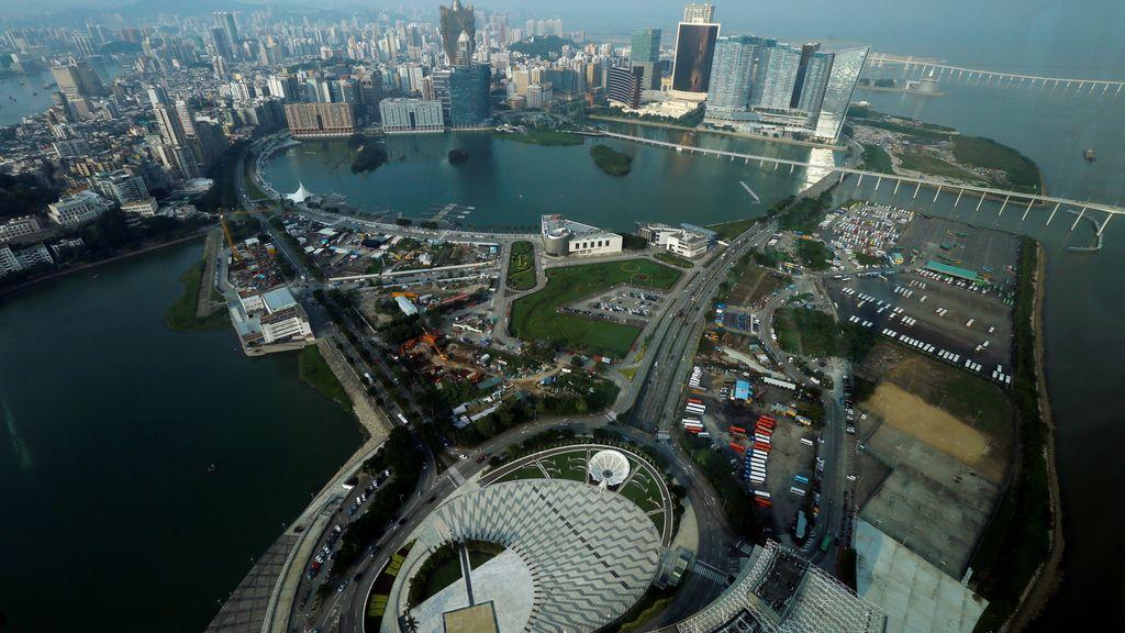 La península de Macau, en China, vista desde el aire