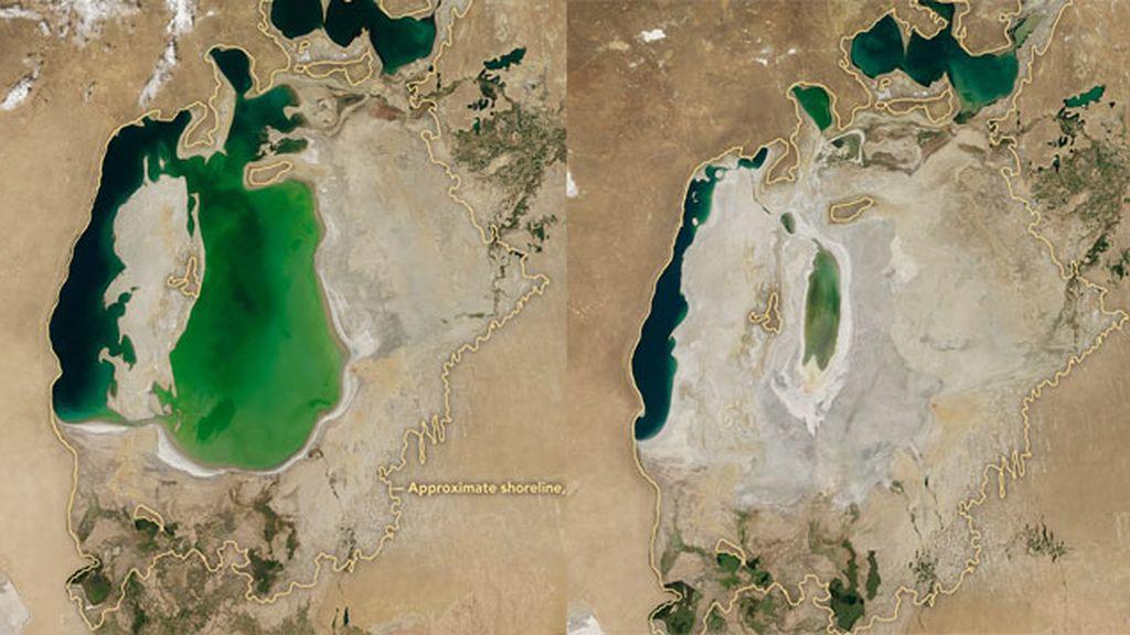 El mar de Aral, uno de los lagos más grandes del mundo se convierte en un desierto