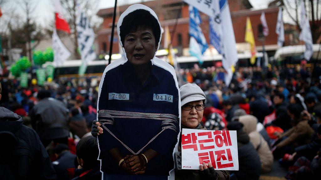 Una manifestación en contra del presidente de Corea del Sur