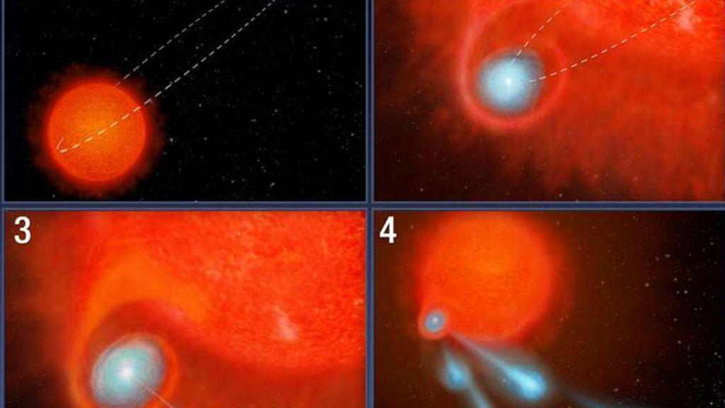El telescopio espacial Hubble detecta un 'cañón de fuego' en una estrella moribunda
