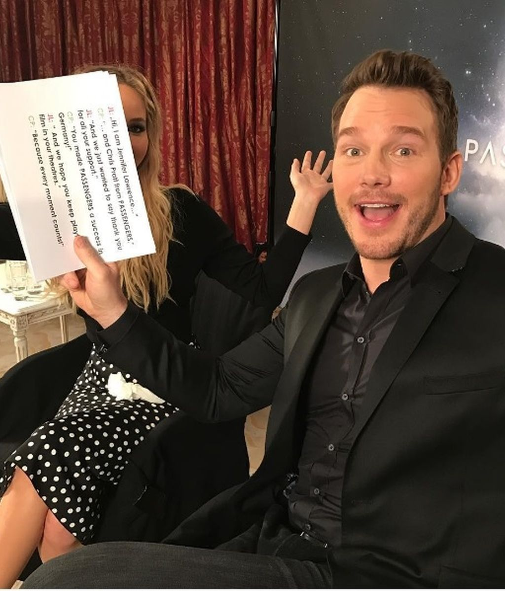 La divertida broma de Chris Pratt a Jennifer Lawrence: la recorta en todas las fotos