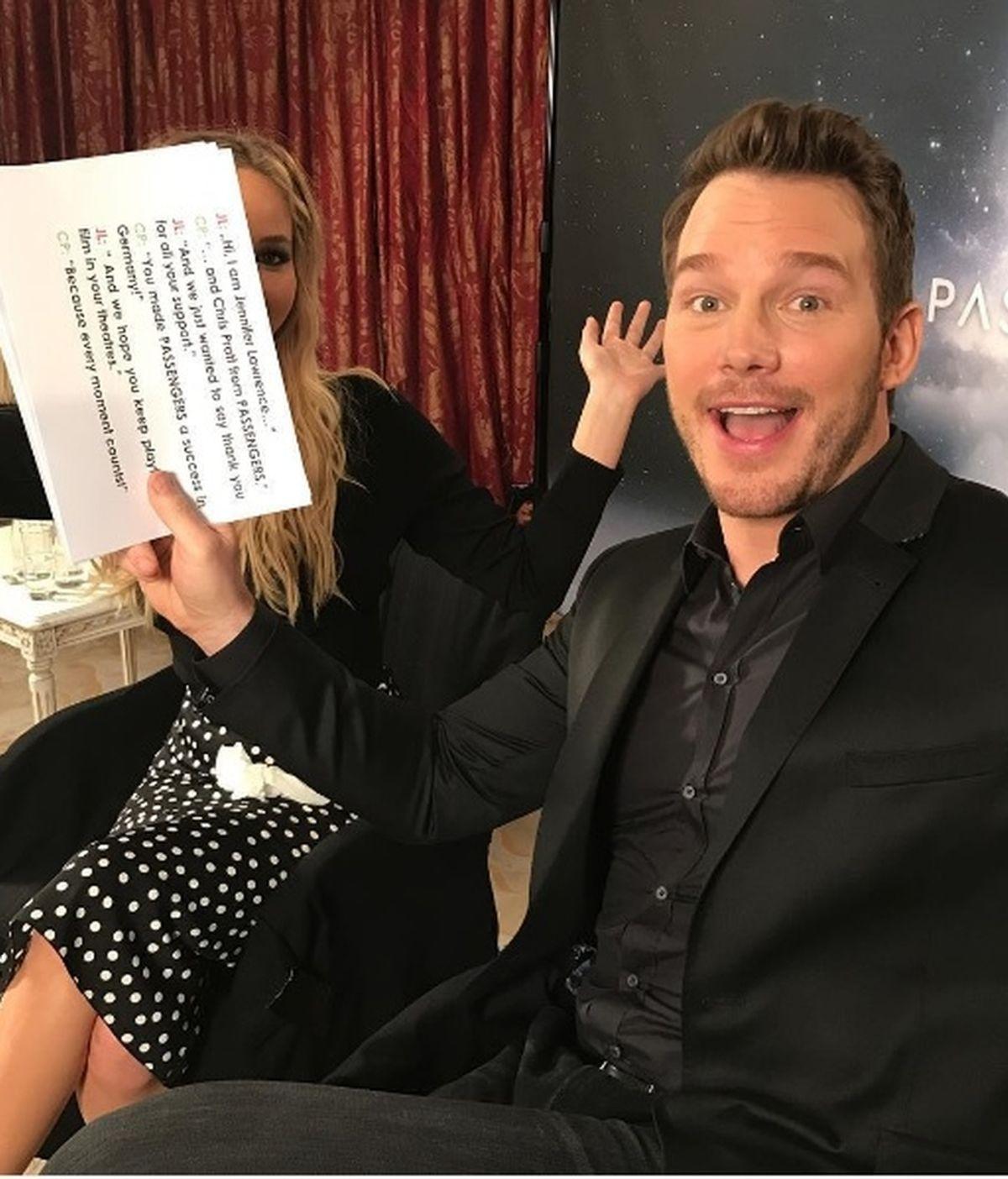 La divertida broma de Chris Pratt a Jennifer Lawrence: la recorta en todas las fotos