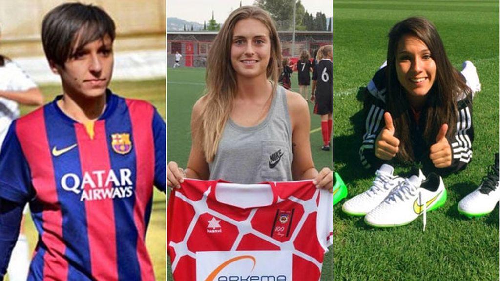 La delanteras de la roja: Marta Corredera, Alexia Putellas y Mari Paz Vilas