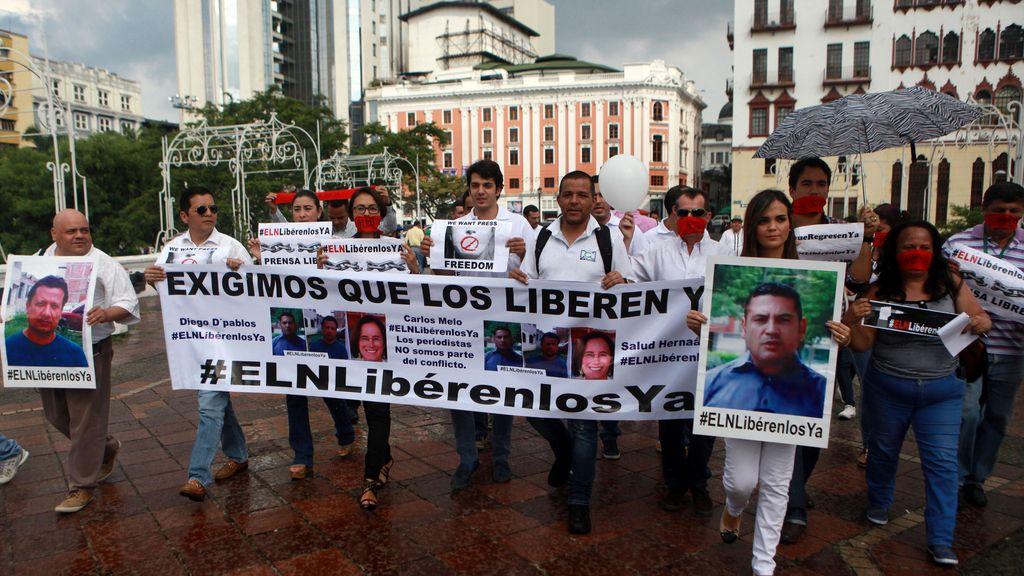 Manifestación por la liberación de los periodistas