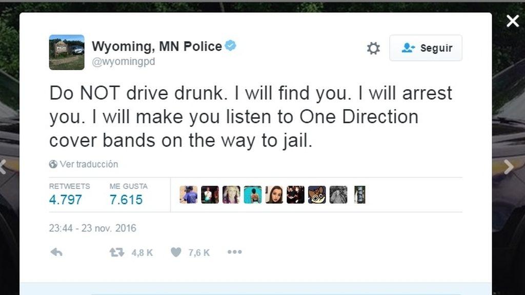 """La Policía amenaza a los conductores ebrios: """"Te haré escuchar 'One Direction' de camino a la cárcel"""""""