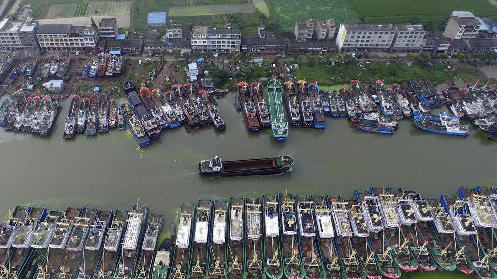 Vista aérea de los barcos de Taizhou