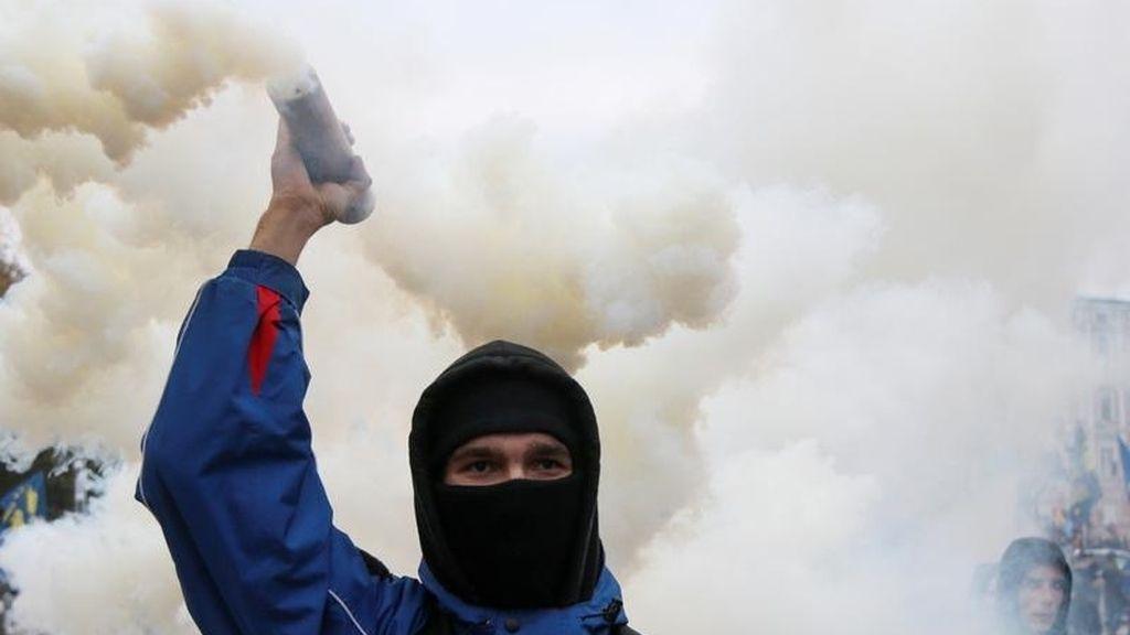 Manifestante en Ucrania
