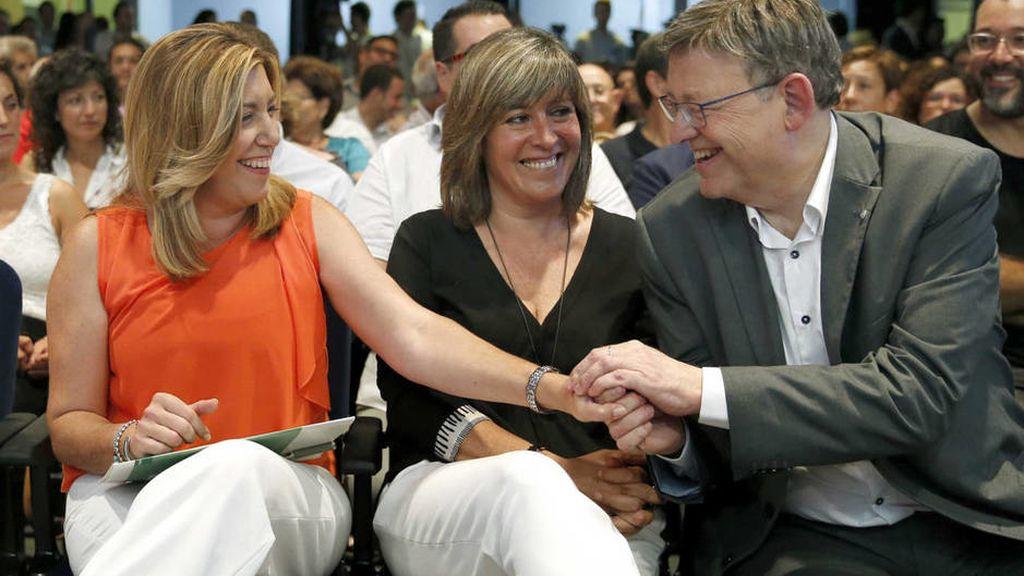Susana Díaz, Núria Marín y Ximo Puig