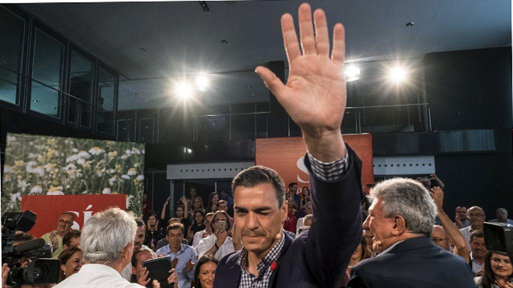 Pedro Sánchez, en un acto de precampaña en Las Palmas deGran Canaria
