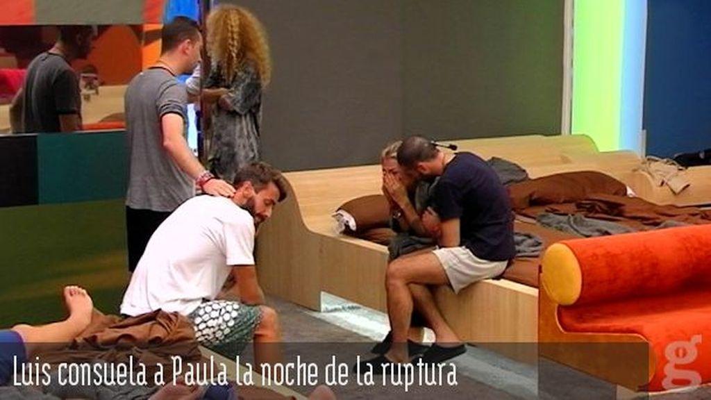 Luis consuela a Paula la noche de la ruptura